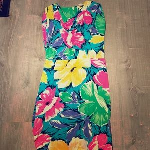Vintage Bright Tropical Flower Dress Size 6